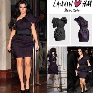 LANVIN FOR H&M PLUM ONE SHOULD MINI DRESS